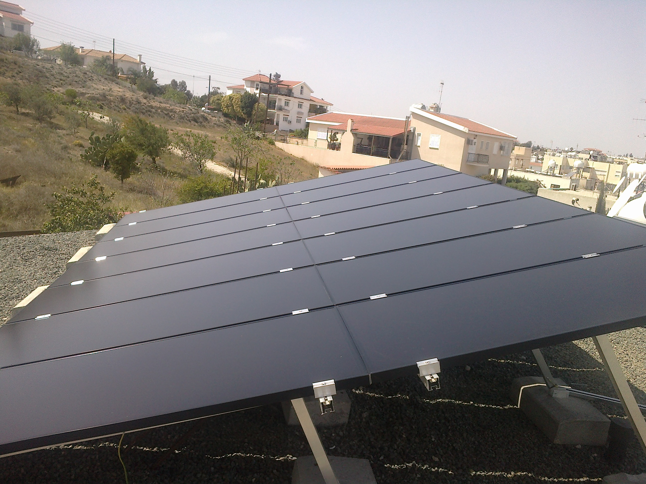 Flat Roof Installation : Net metering installation on a flat roof in egkomi